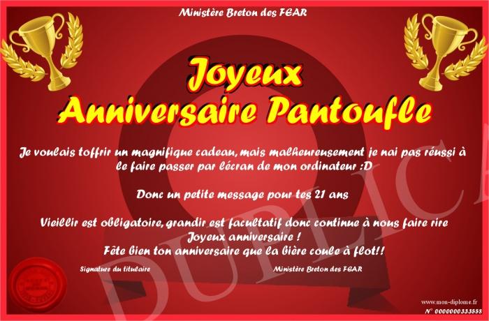 Joyeux Anniversaire Pantoufle