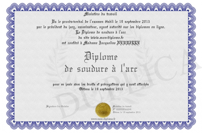Diplome de soudure a l arc - Soudure al arc ...