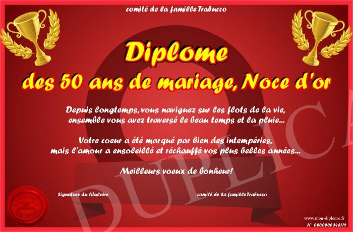 diplome des 50 ans de mariage noce d or - Noce 50 Ans De Mariage