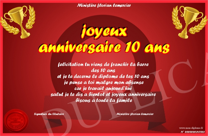 joyeux anniversaire 10 ans. Black Bedroom Furniture Sets. Home Design Ideas