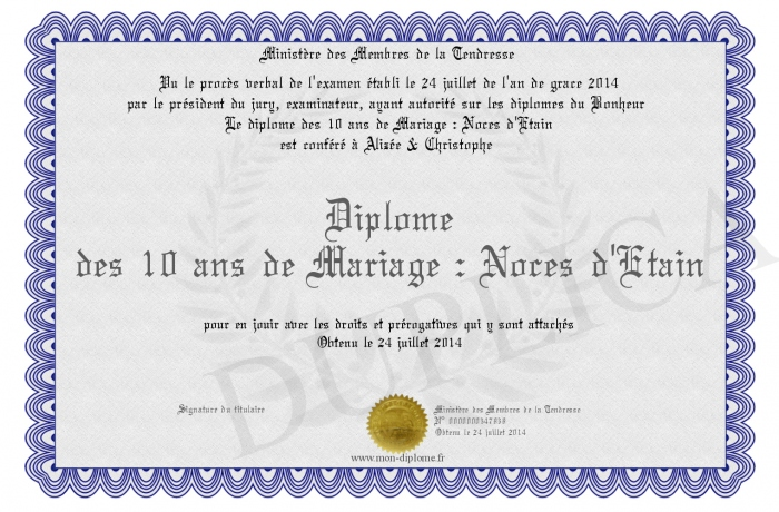 diplome des 10 ans de mariage noces d etain. Black Bedroom Furniture Sets. Home Design Ideas