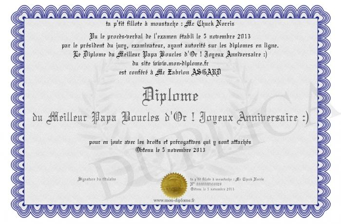 Diplome Du Meilleur Papa Boucles D Or Joyeux Anniversaire