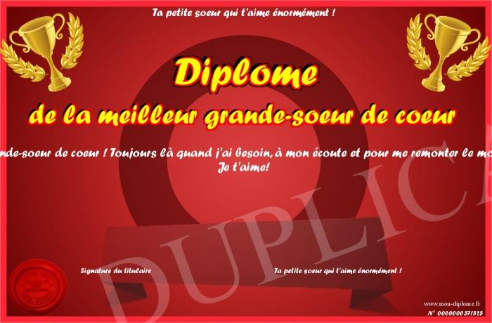 Diplome De La Meilleur Grande Soeur De Coeur