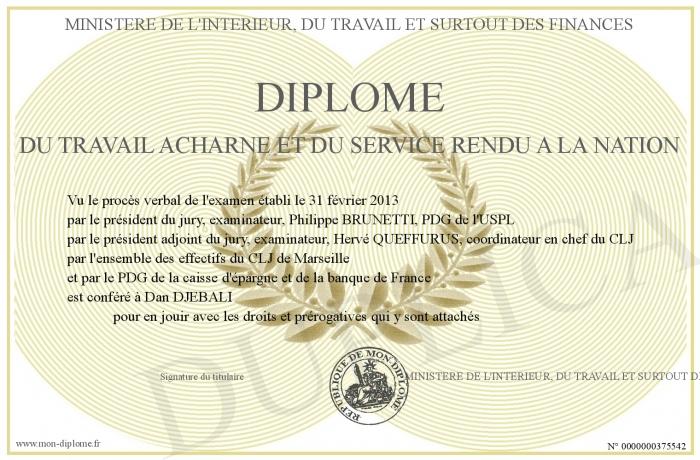 Diplome Du Travail Acharne Et Du Service Rendu A La Nation