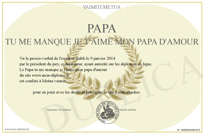 Papa Tu Me Manque Je T Aime Mon Papa D Amour