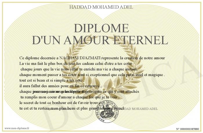 Diplome D Un Amour Eternel