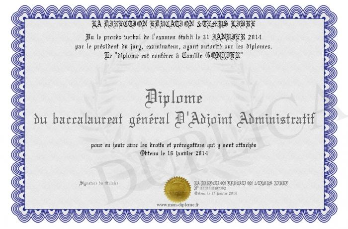 Diplome du baccalaureat general d adjoint administratif for Adjoint administratif