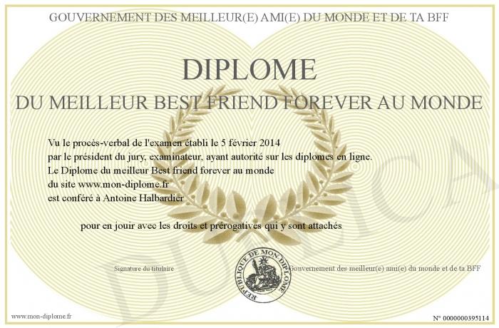 Diplome Du Meilleur Best Friend Forever Au Monde