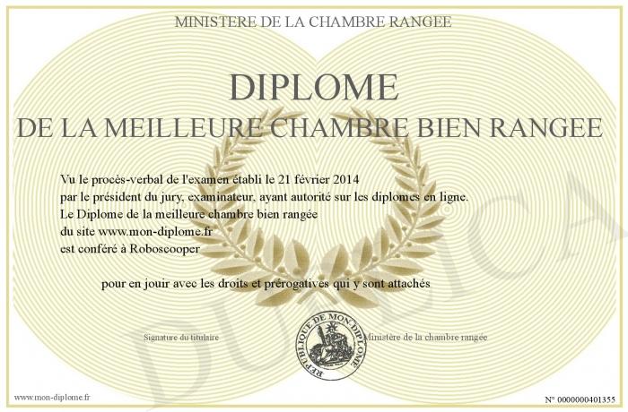 Diplome de la meilleure chambre bien rangee for Chambre bien rangee en anglais