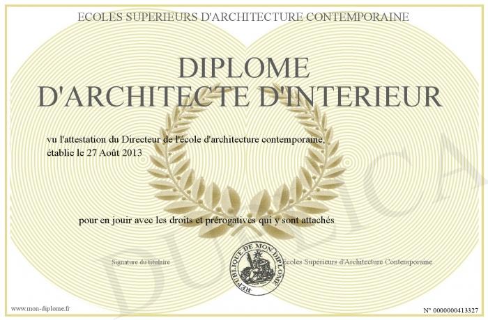 Diplome Architecte D Interieur.Diplome D Architecte D Interieur