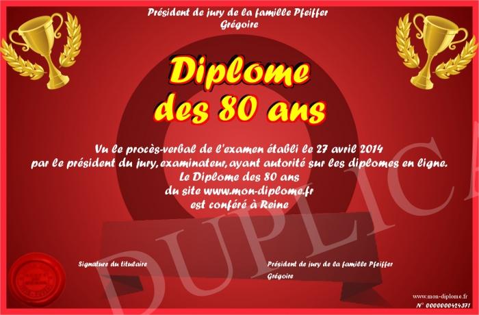 Diplome 80 Ans