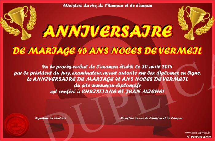 Anniversaire de mariage 45 ans noces de vermeil - 45 ans de mariage noce de ...