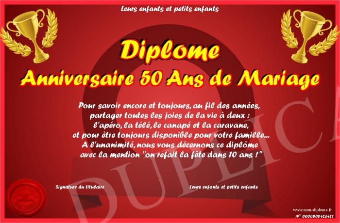 Diplome anniversaire 50 ans de mariage for 50 robes de mariage anniversaire
