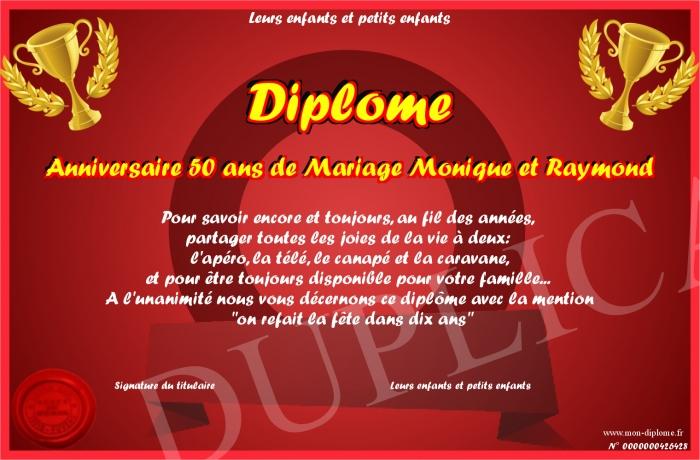 Diplome Anniversaire 50 Ans De Mariage Monique Et Raymond