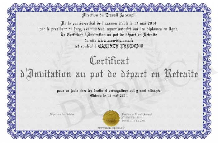 Extrem Certificat-d-Invitation-au-pot-de-depart-en-Retraite EL05