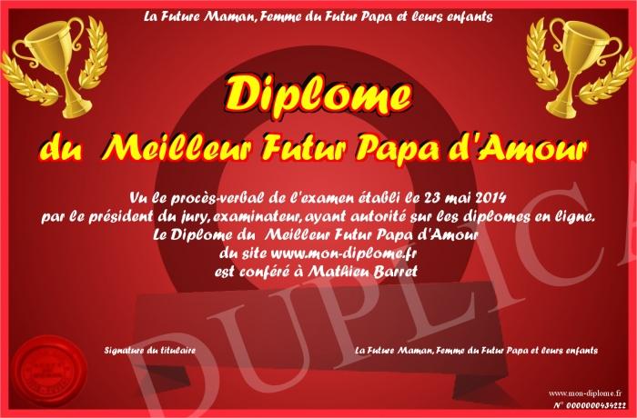Diplome Du Meilleur Futur Papa D Amour