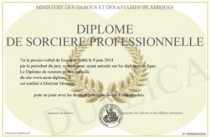 Diplome de sorci re imprimer for Diplome de cuisine a imprimer
