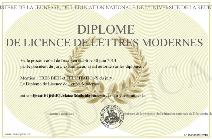 diplome de licence de lettres modernes