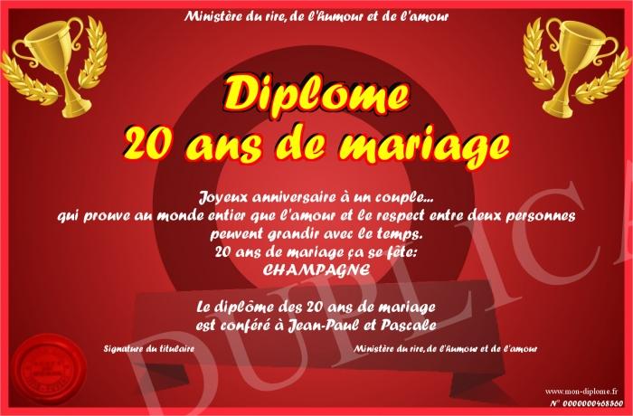 Diplome 20 Ans De Mariage