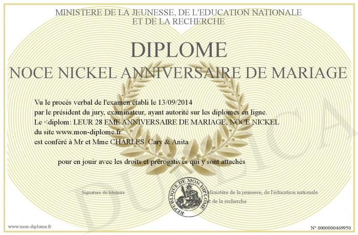Diplome Noce Nickel Anniversaire De Mariage