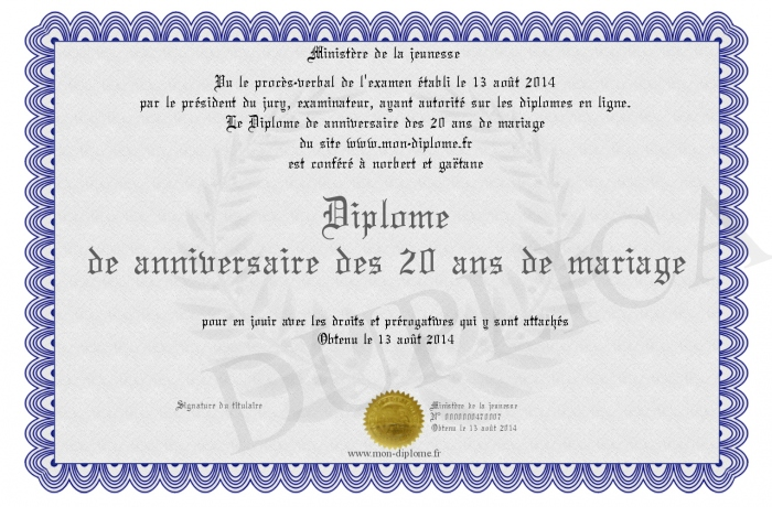 diplome de anniversaire des 20 ans de mariage. Black Bedroom Furniture Sets. Home Design Ideas