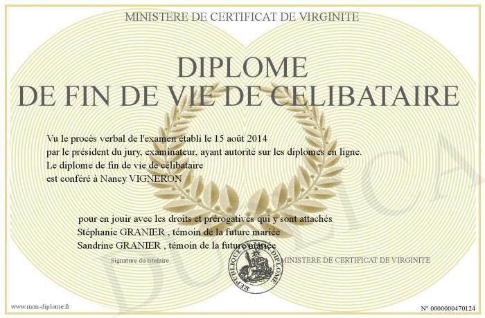 Certificat de fin de vie de célibataire à imprimer