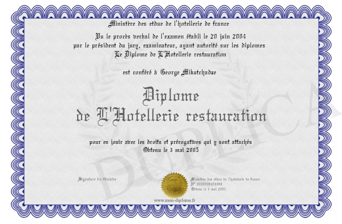 Diplome de l hotellerie restauration for Diplome restauration collective