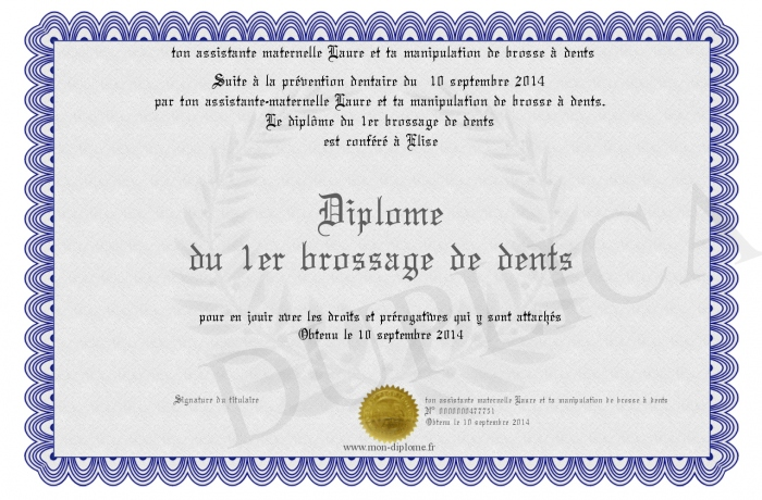 Fabuleux Diplome-du-1er-brossage-de-dents GM66