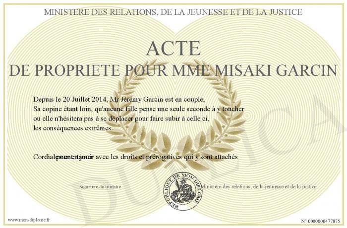 Acte de propriete pour mme misaki garcin - Acte de propriete belgique ...