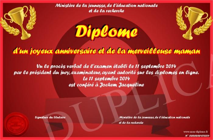 Diplome D Un Joyeux Anniversaire Et De La Merveilleuse Maman