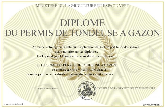 Diplome du permis de tondeuse a gazon for Diplome espace vert