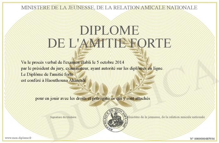 Diplome De L Amitie Forte