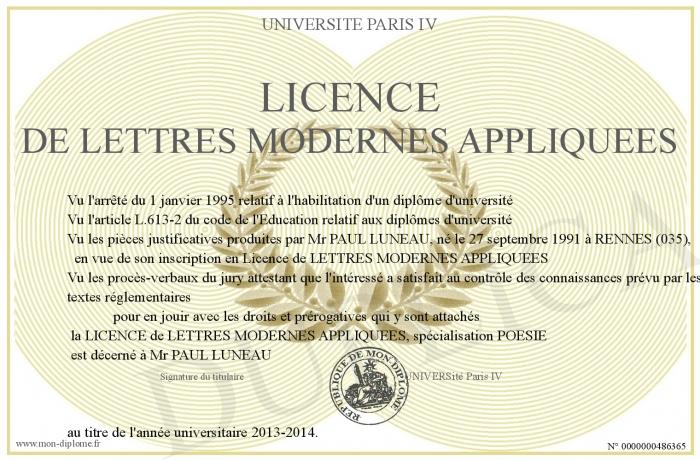 licence de lettres modernes appliquees