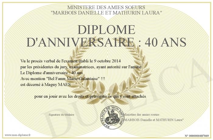 Diplome D Anniversaire 40 Ans