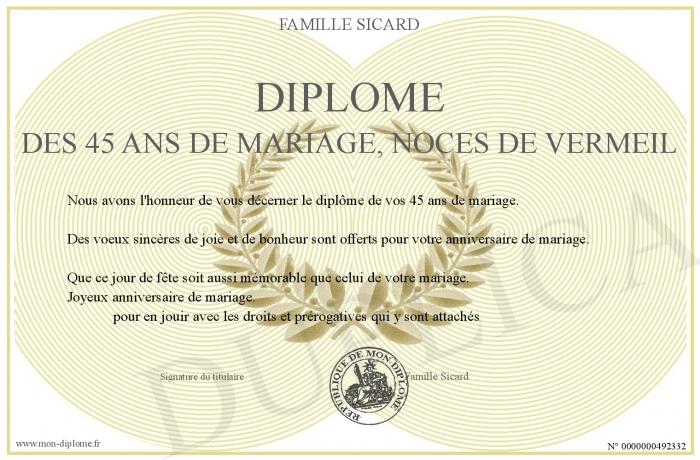 Diplome des 45 ans de mariage noces de vermeil - 45 ans de mariage noce de ...