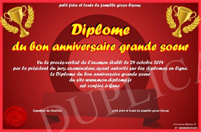 Diplome Du Bon Anniversaire Grande Soeur