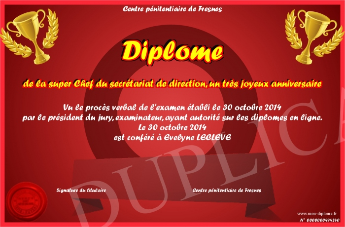 Diplome De La Super Chef Du Secretariat De Direction Un Tres Joyeux