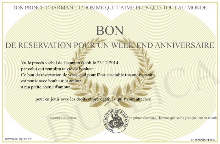 Bon De Reservation Pour Un Week End Anniversaire