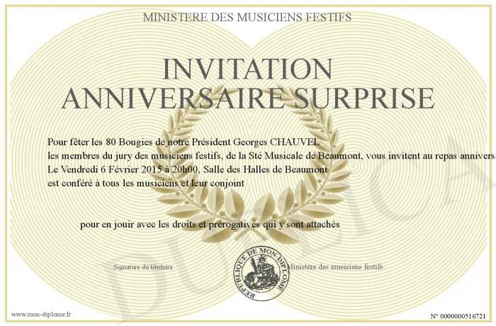 Invitation anniversaire surprise - Invitation anniversaire surprise ...