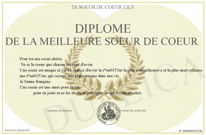 Diplome De La Meilleure Soeur De Coeur