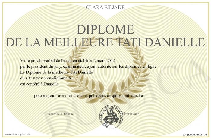 Diplome De La Meilleure Tati Danielle