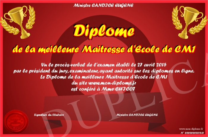 diplome de la meilleure maitresse d ecole de cm1. Black Bedroom Furniture Sets. Home Design Ideas
