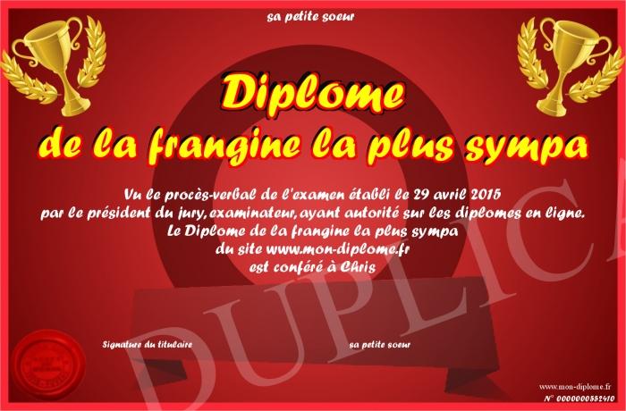 Diplome De La Frangine La Plus Sympa