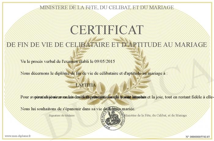 Diplome de fin de vie de célibataire gratuit