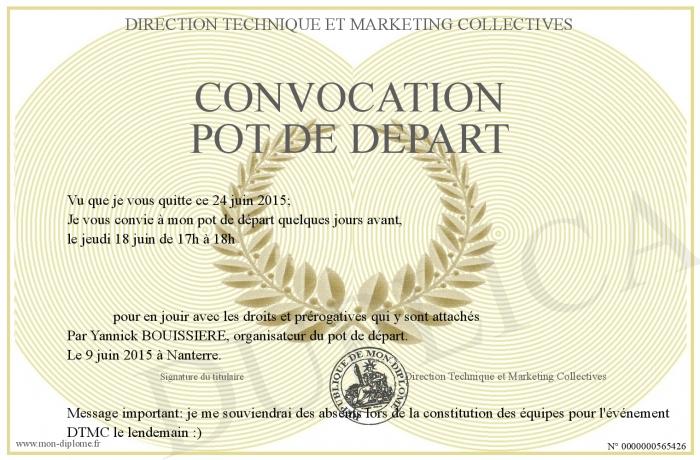 Convocation Pot De Depart