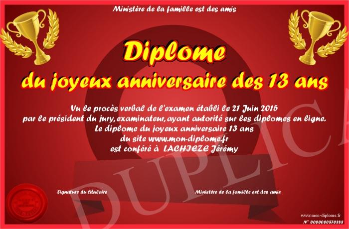 Diplome Du Joyeux Anniversaire Des 13 Ans