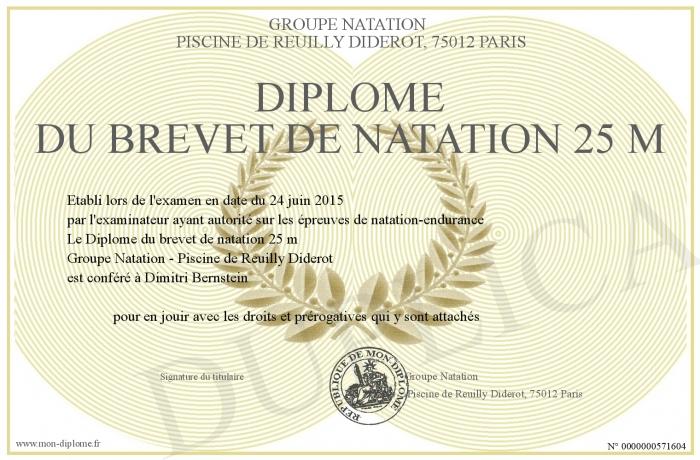 Diplome Du Brevet De Natation 25 M