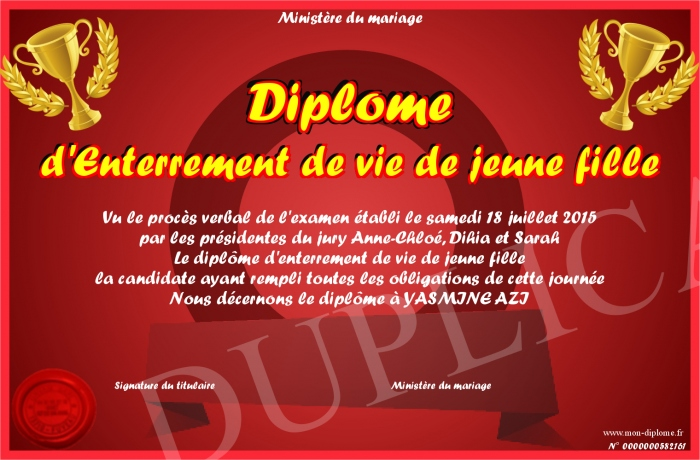 Hervorragend Diplome-d-Enterrement-de-vie-de-jeune-fille LV56