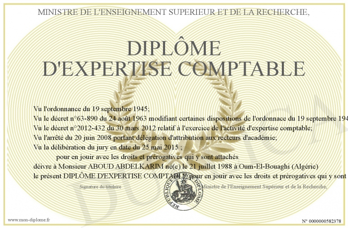 diplome d'expertise comptable
