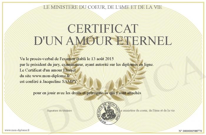 Certificat D Un Amour Eternel